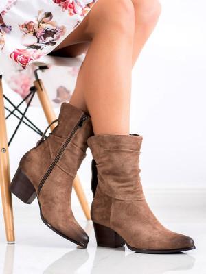 Stylové hnědé dámské  kotníčkové boty na širokém podpatku