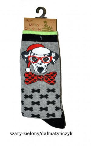 Dámské ponožky Merry Christmas 3058 -  RiSocks zelená-potisk 35-41