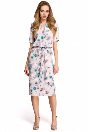Dámské šaty S114 - Style ecru s květy 44/2XL
