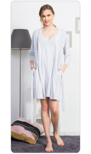 Dámský župan s noční košilí na ramínka Betty - Vienetta světle šedá