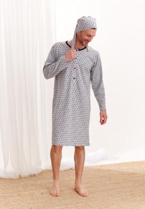 Pánská noční košile  Filip 008 -TARO šedá s potiskem