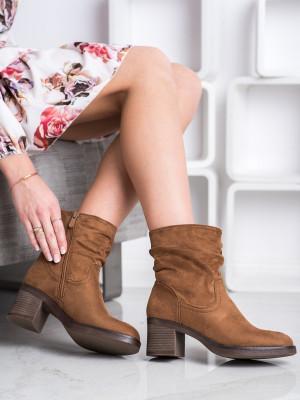 Komfortní  kotníčkové boty hnědé dámské na širokém podpatku
