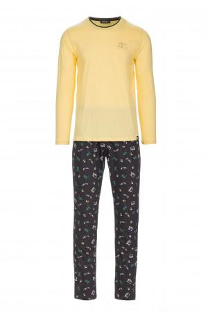 Pánské pyžamo s potiskem fotoaparátu yellow banana m