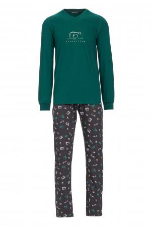 Pánské pyžamo s potiskem fotoaparátu green forest m