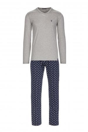 Pohodlné pánské pyžamo gray melange s