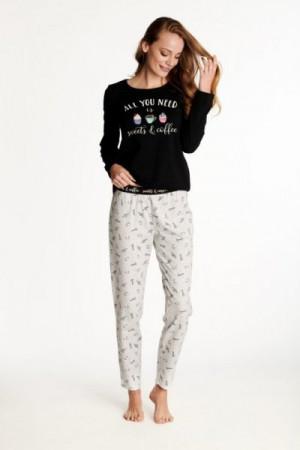 Henderson Ladies Westley 38261-99X Dámské pyžamo L černo-šedá