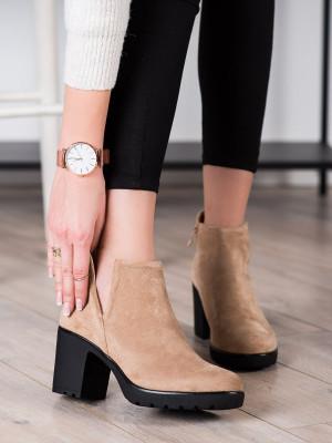 Jedinečné  kotníčkové boty dámské hnědé na širokém podpatku