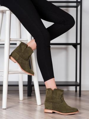 Pohodlné dámské  kotníčkové boty zelené na klínku