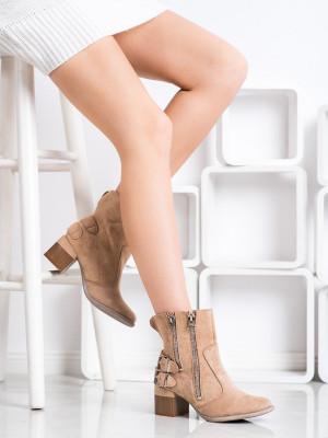 Módní  kotníčkové boty dámské hnědé na širokém podpatku