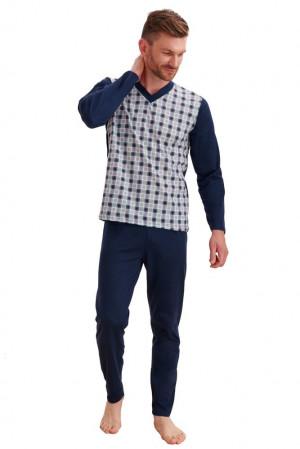 Pánské pyžamo Roman tmavě modré káro