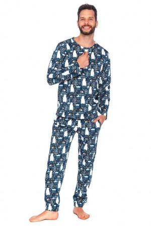 Pánské pyžamo Lesní medvěd modré modrá