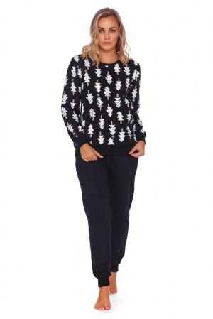 Dámské pyžamo Wendy černé se stromečky černá