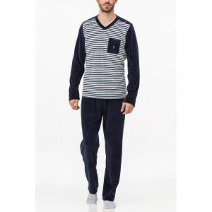 Pánské pyžamo 11737 - Vamp tm.modrá s proužky
