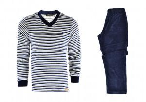 Pánské pyžamo 11734 - Vamp tm.modrá s proužky
