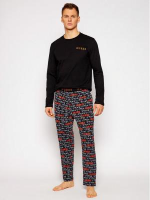 Pánské pyžamo U0BX01JR018 - PN53 černo-oranžová - Guess černá