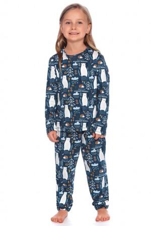 Dětské pyžamo Les tmavě modré s medvědy modrá 110