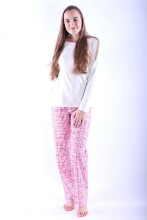 Dámské pyžamo Erika 2 růžové káro růžová
