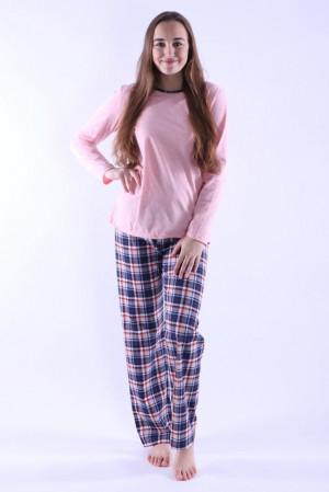 Dámské pyžamo Erika 3 růžové s káro vzorem růžová