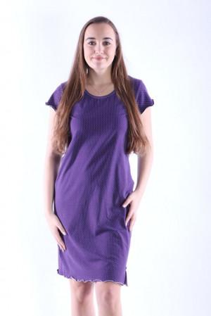 Dámská noční košile Gabra fialová s puntíky fialová
