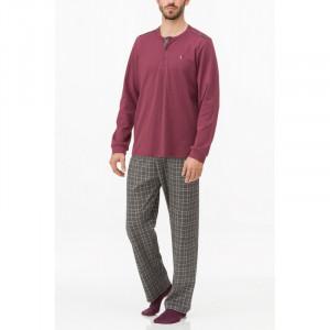 Pánské pyžamo 11683 - Vamp bordo s šedou