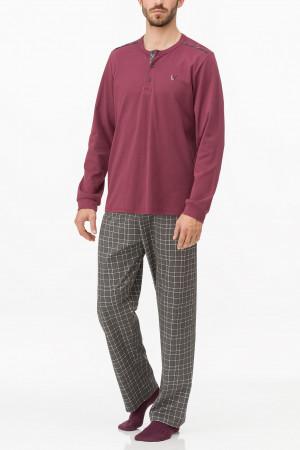 Vamp - Pánské pohodlné pyžamo BLUE OXFORD XXL 13636 - Vamp bordeaux imperial 4xl