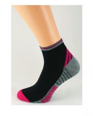 Vzorované dámské ponožky Running Ona Sport 5907 - Bratex tm.šedá-sv.šedá 39-41