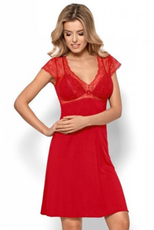 Nipplex By Night Bianca červená Noční košilka S červená