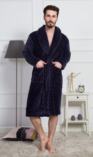 Pánský župan se šálovým límcem Dominik - Gazzaz tmavě modrá