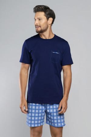 Pánské pyžamo Italian Fashion Kryspin tm.modrá/potisk 2xl