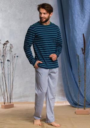 Pánské pyžamo MNS 371 B20 - Key tm.modrá-šedá