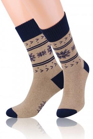 Pánské vzorované ponožky Steven frotte art.122 šedá žíhaná-světle šedá 41-43