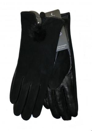 Dámské rukavice YO! R-149 Kůže, semiš černá 23 cm