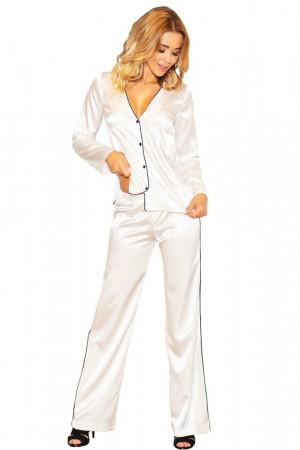 Saténové pyžamo Termi ecru bílá