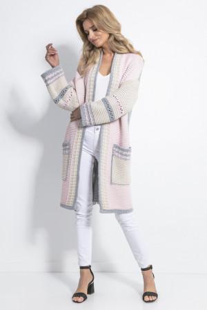 Dámský svetr F699 - Fobya růžová - šedá L/XL