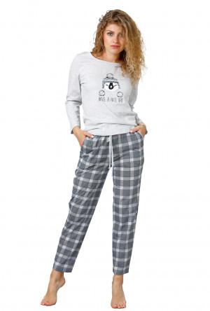 Dámské pyžamo M-Max Marcja 949 dł/r M-2XL šedá-žíhaná