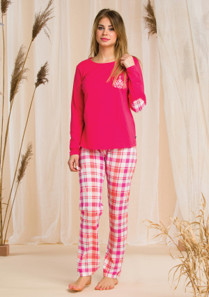 Dámské pyžamo Key LNS 437 B20 malinová-káry