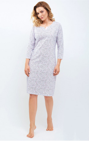 Dámská noční košile Cana 865 3/4 S-XL bílá-růžová