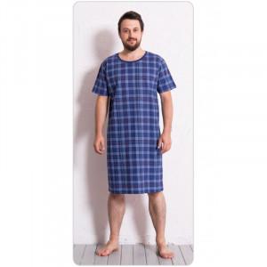 Pánská noční košile s krátkým rukávem Kostka - Gazzaz modrá kostka
