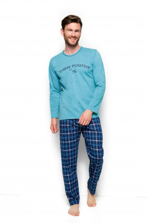Pánské pyžamo Leo 2264 - Taro tyrkys - modrá