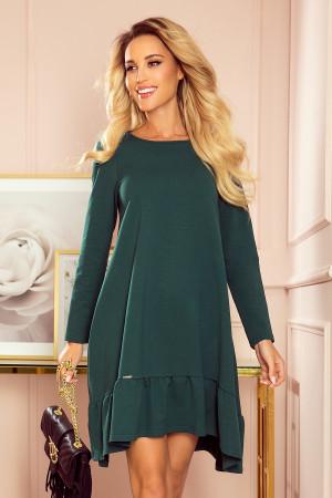 Dámské trapézové šaty v lahvově zelené barvě s volánkem 337-1