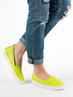 Luxusní dámské zelené  tenisky bez podpatku