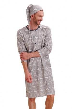 Pánská noční košile Filip wolf šedá šedá
