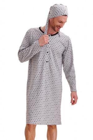 Pánská noční košile Filip šedá lišáci šedá