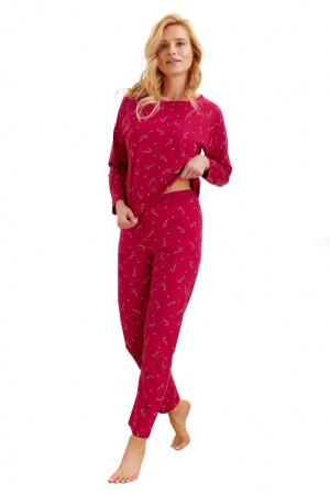 Dámské pyžamo Jurata červené paličky červená