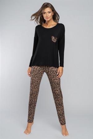 Dámské pyžamo Italian Fashion Eila černá/potisk s