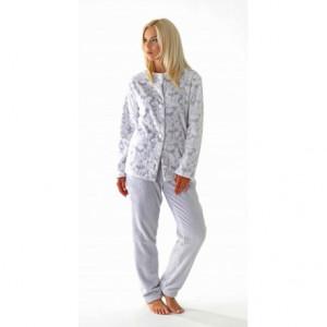 FLORA teplé pyžamo S pohodlné domácí oblečení 9102 šedý tisk na bílé