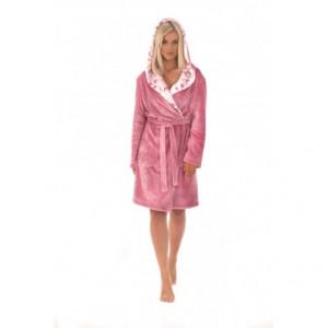 FLORA župan s kapucí pudrová S 3/4 župan s kapucí růžová 3352 flannel fleece - polyester