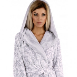 FLORA dove grey, župan s kapucí S dlouhý župan s kapucí 9103 dove grey flannel fleece - polyester