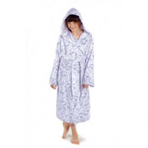FLORA dívčí župan s kapucí dětské č. 116 dětský župan s kapucí 9102 šedý tisk na bílé flannel fleece - polyester