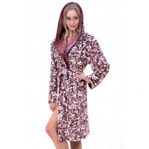 FLORA župan s kapucí S 3/4 župan s kapucí 4803 tmavý vřes tisk flannel fleece - polyester